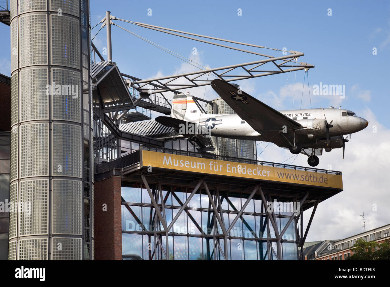 MuseumofTechnology with C-47 Skytrain candy bomber, Berlin, Germany Stock Photo