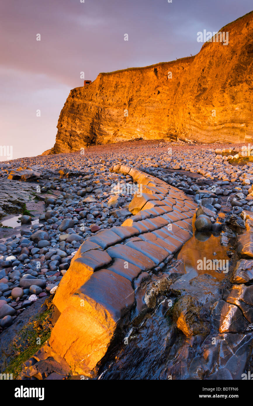 Ledges and cliffs bathed in golden sunlight, Kilve, Somerset, England. Spring (May) 2009 - Stock Image