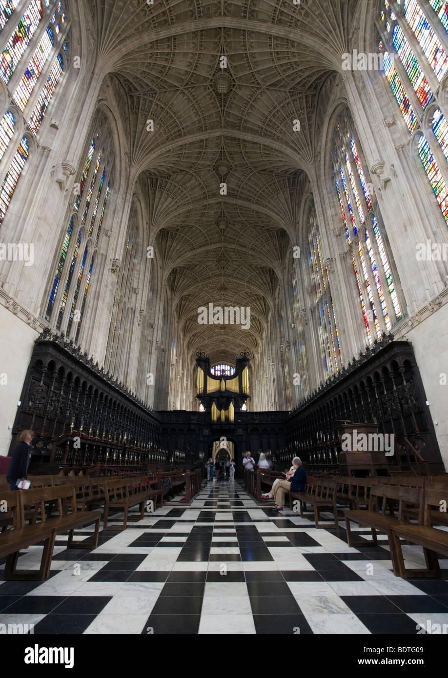 Inside King's College Chapel in Cambridge, UK. - Stock Image