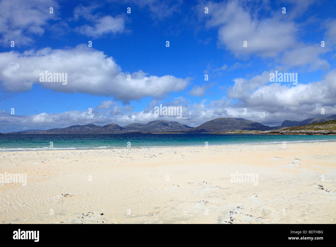 View across the Sound of Taransay from Luskentyre, Isle of Harris - Stock Image