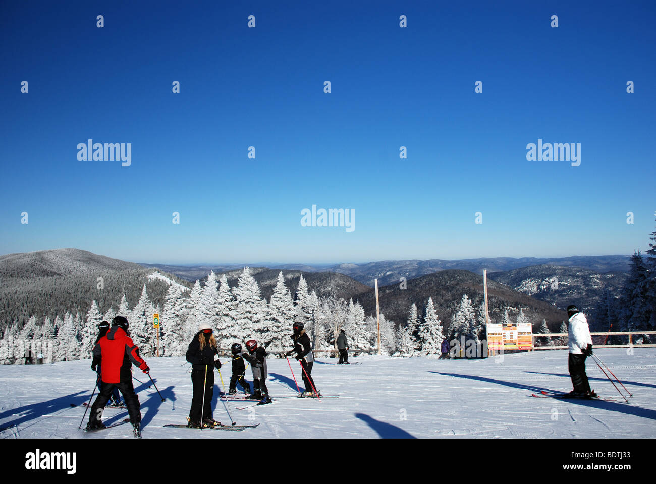 Downhill skiing on Mount Tremblant in Quebec, Canada - Stock Image