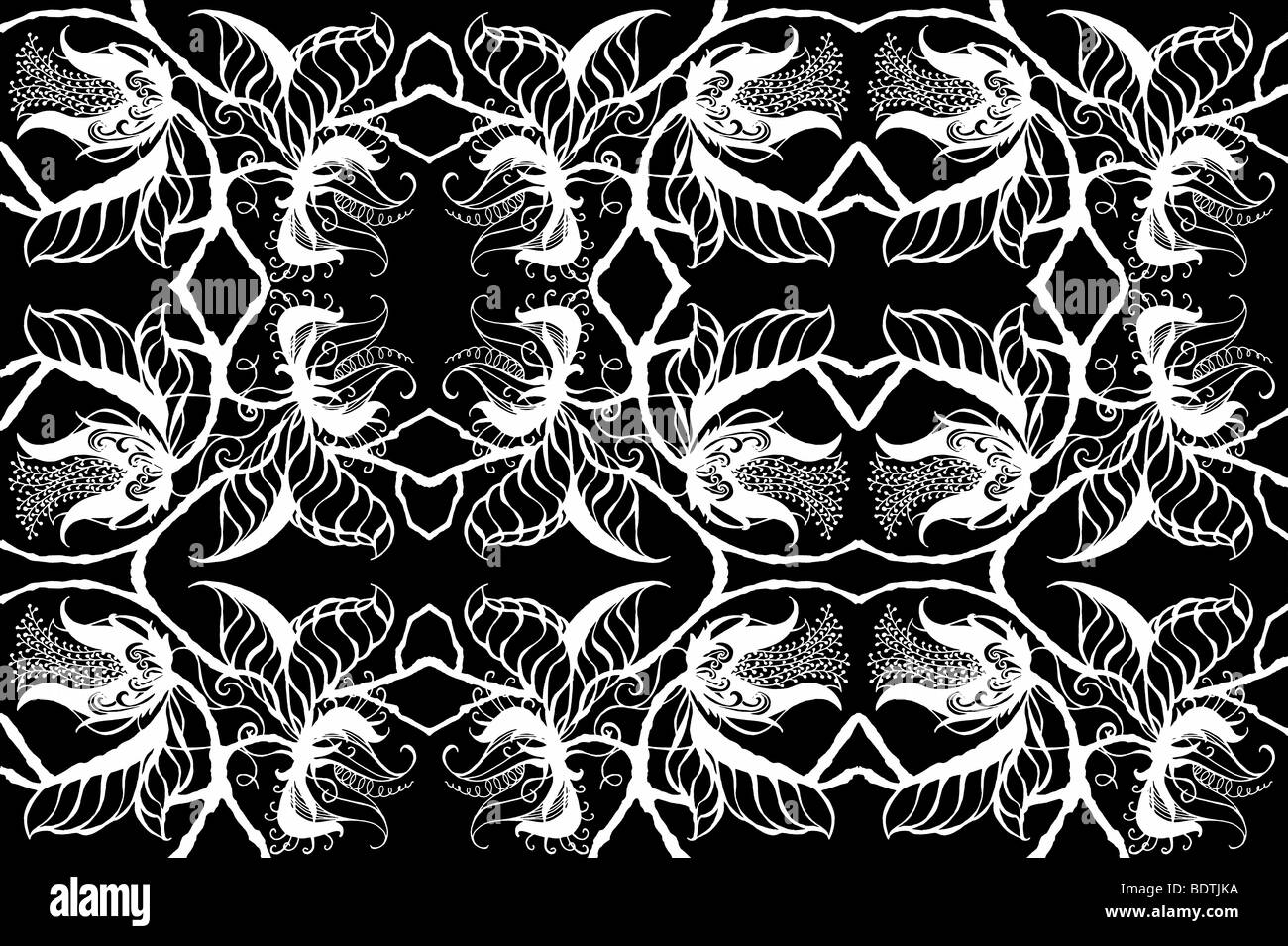 Repeated white on black drawing of exotic botanical blossoms, leaves and stems border exotic foliage botanical silhouette - Stock Image