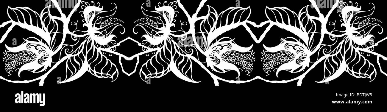 Repeated white on black drawing of exotic botanical blossoms, leaves and stems in border form - Stock Image