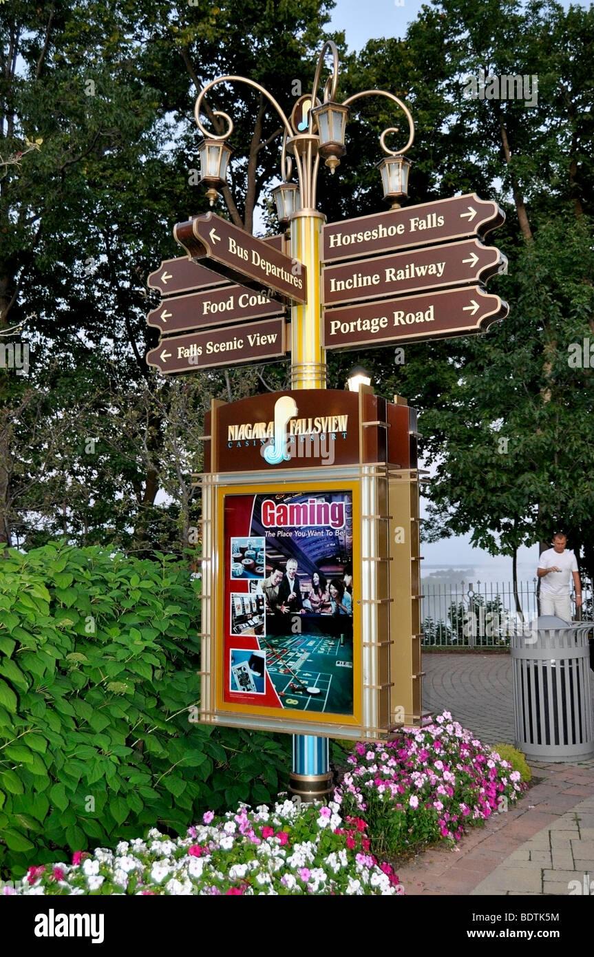 Signage outside Fallsview Casino, Niagara Falls, Canada - Stock Image
