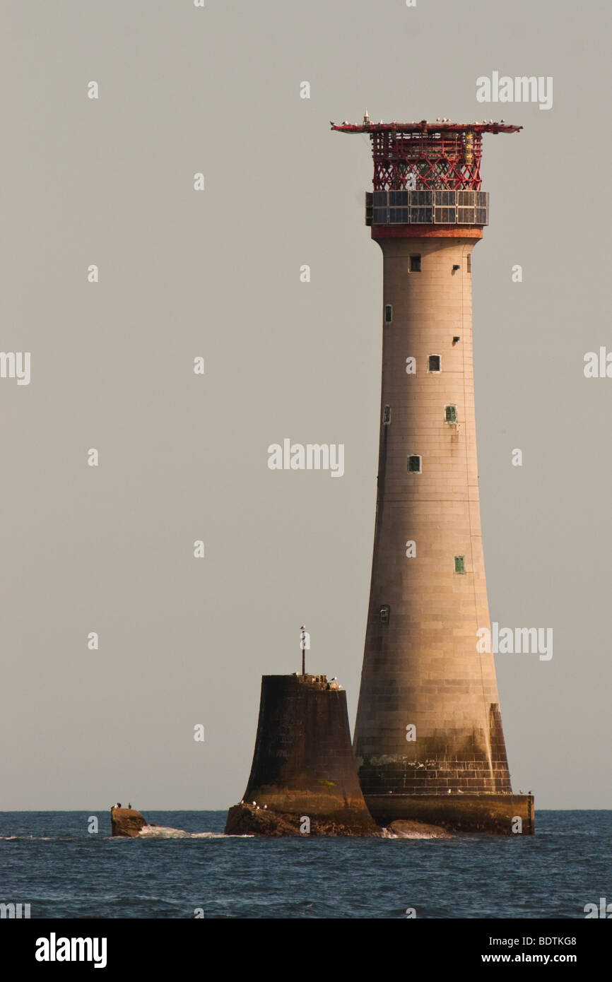 Eddystone Lighthouse 12 miles SSW of Plymouth Fl (2)10s 41m 24M + FR 13M Horn (3) 60sec - Stock Image