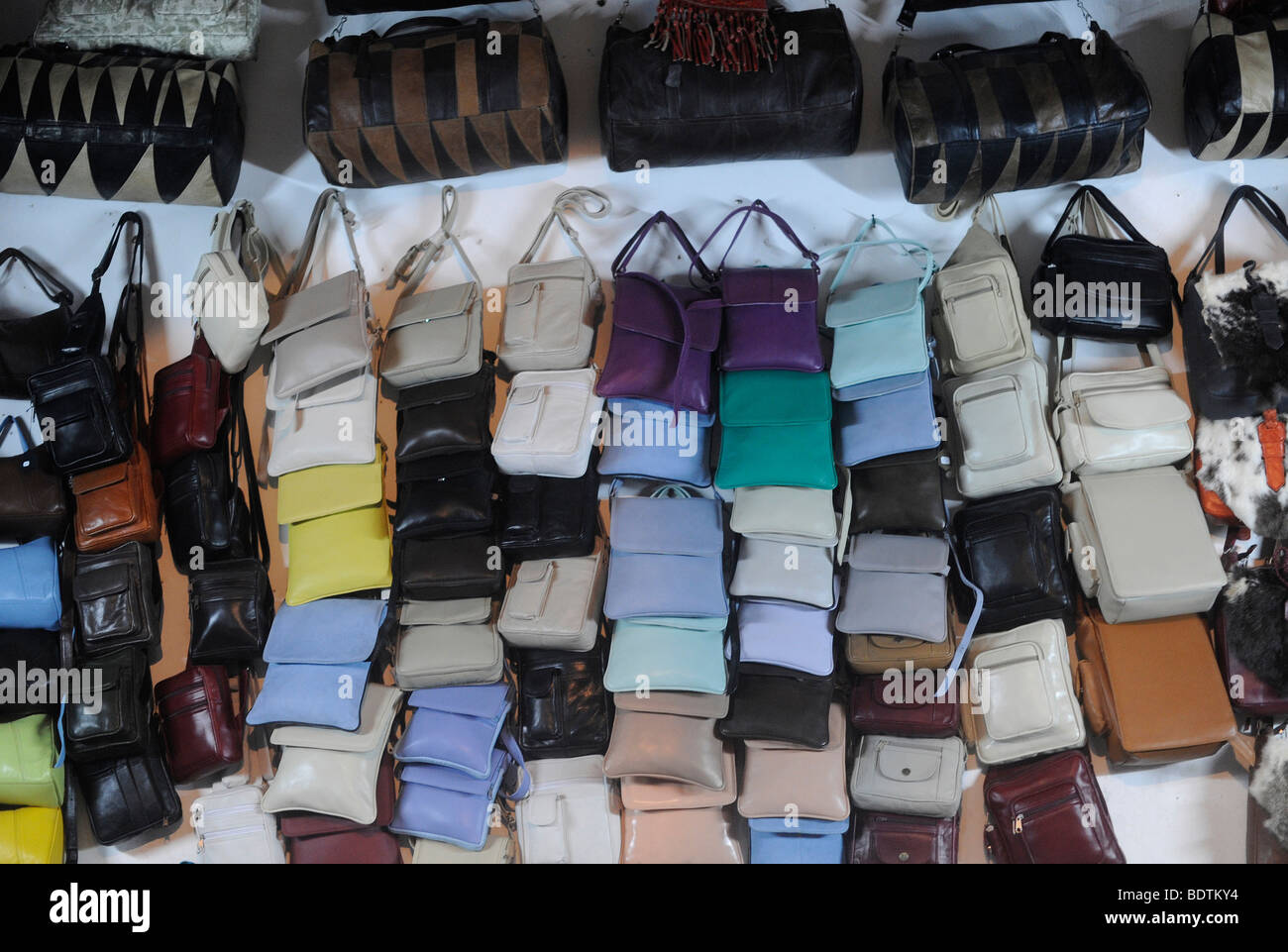 Shop in a tannary souk at the Medina in Fes/Fez is pictured on August 19, 2009 in Morocco in northern Africa. Stock Photo
