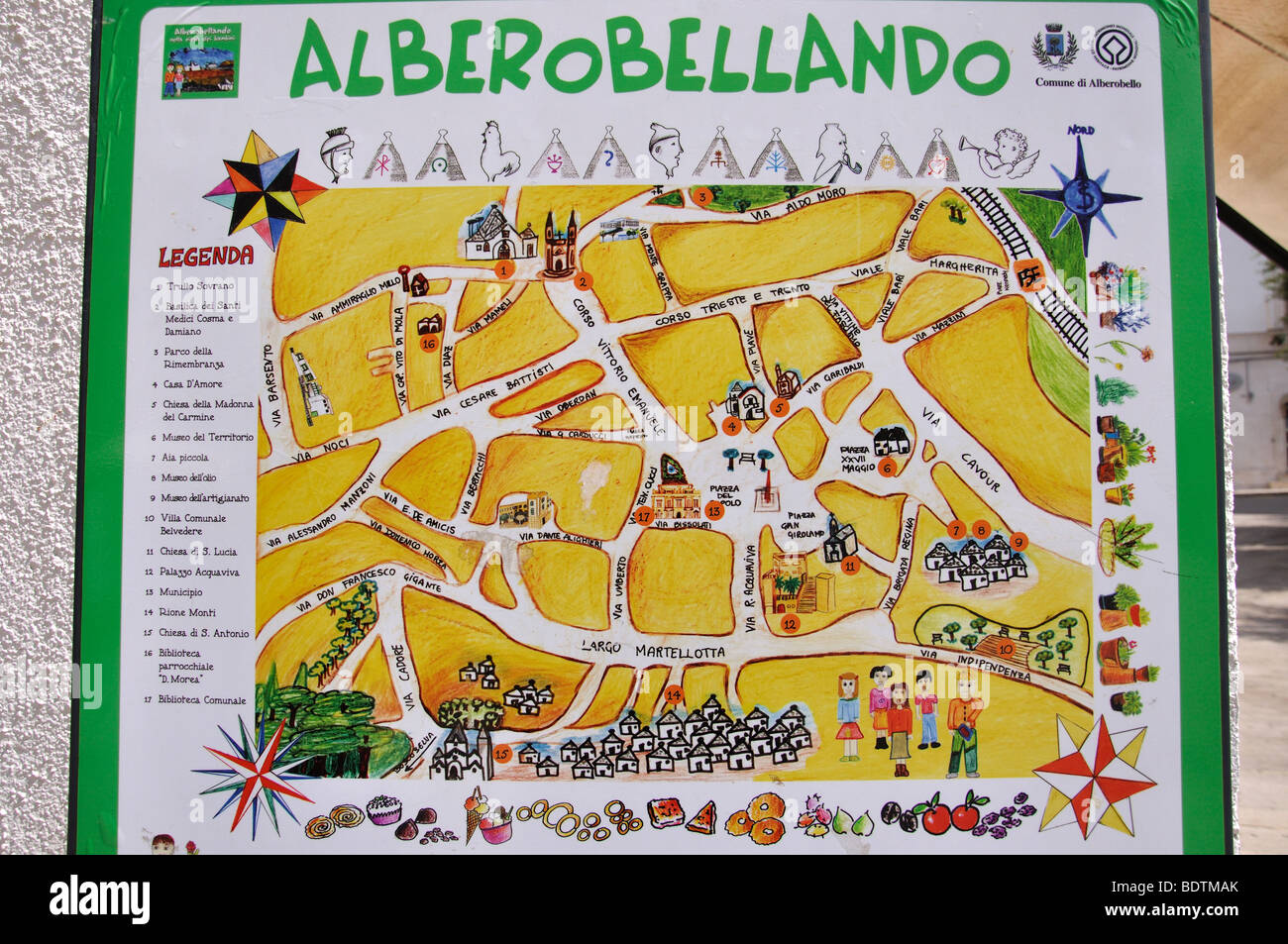 Ceramic Town Map On Wall Alberobello Bari Province Puglia Region