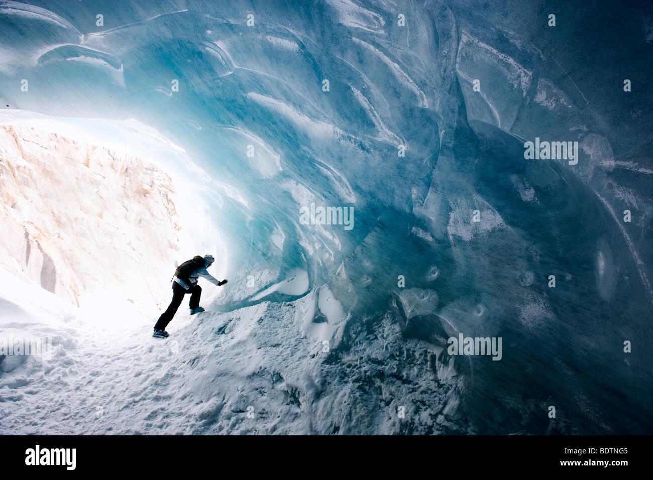 Ice cave Mer de Glace Chamonix France. - Stock Image
