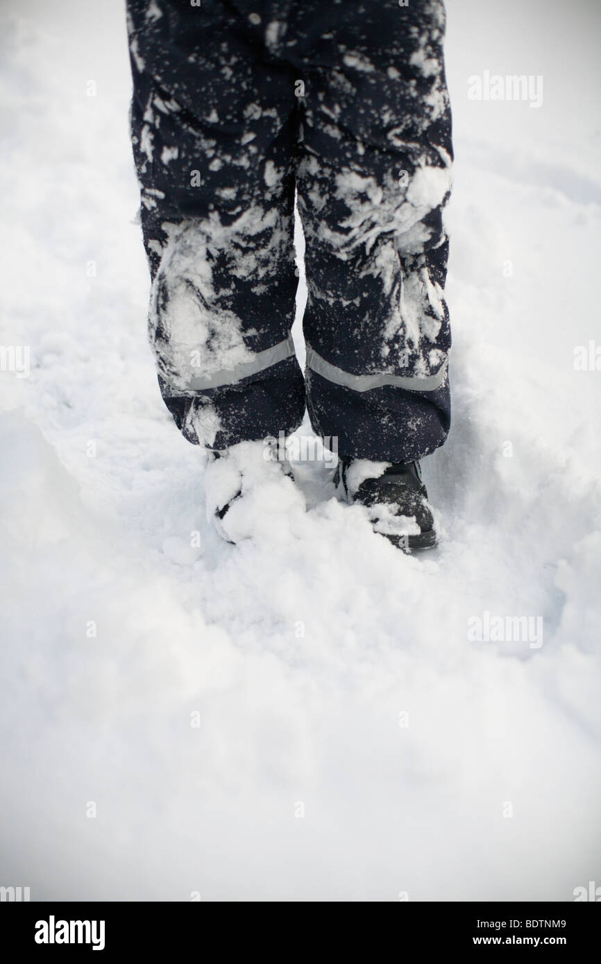 Snowy winter clothes Sweden. - Stock Image