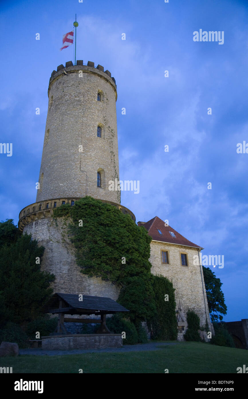 sparrenburg bei nacht, bielefeld, deutschland, sparrenberg castle at night, bielefeld, germany Stock Photo