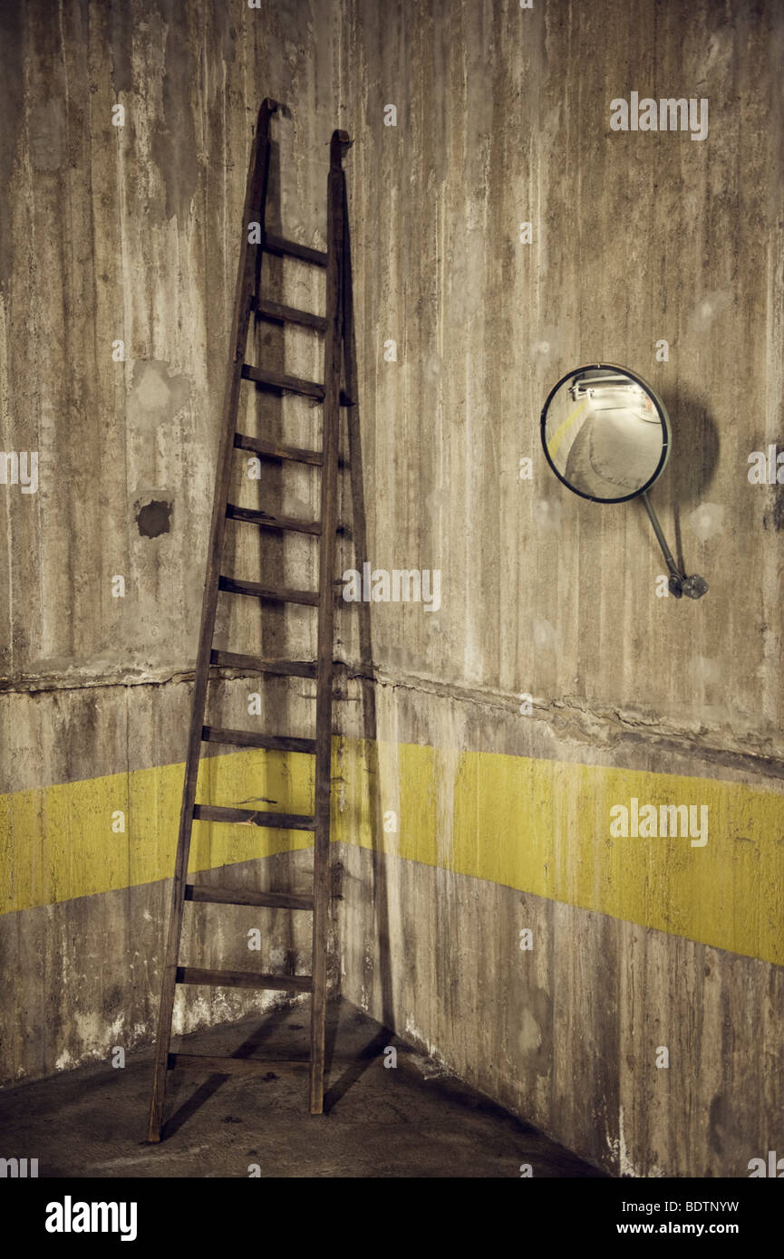 A ladder against a wall Sweden. - Stock Image