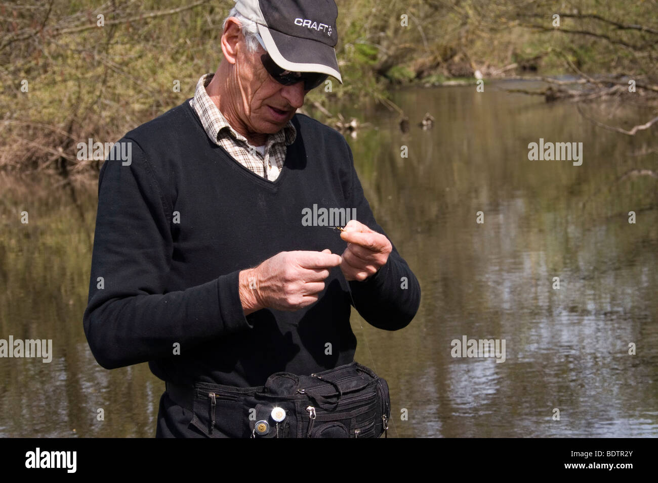fly-fischer, fly-fisching, bait, germany - Stock Image