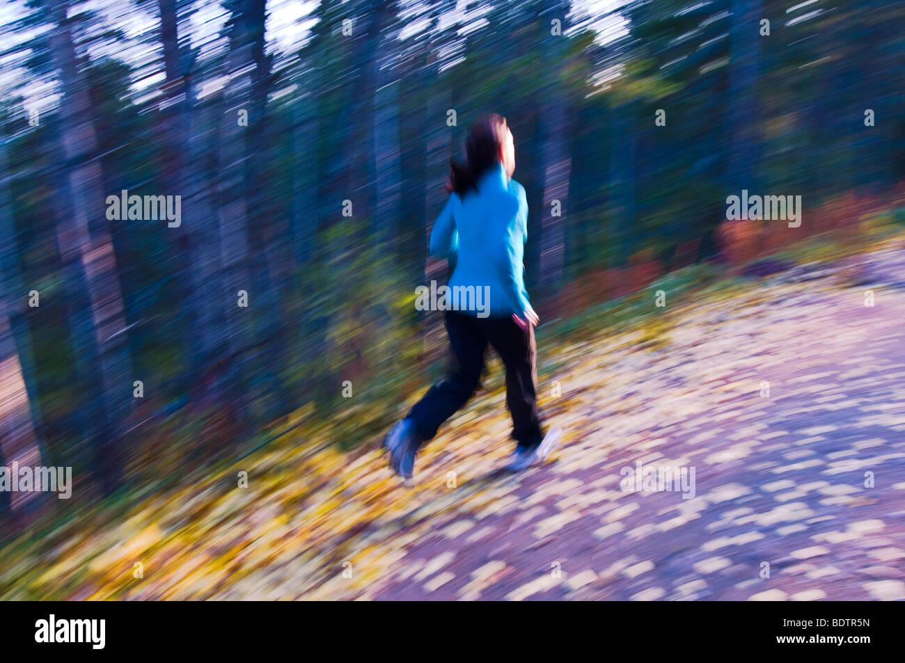 frau joggt durch eine wiese, wischeffekt, gaellivare, lappland, schweden, woman is jogging, lapland, sweden - Stock Image