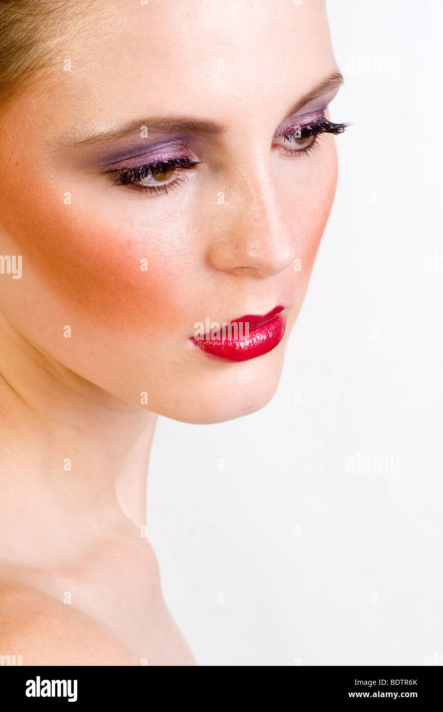 young woman, with artificial eyelid Stock Photo