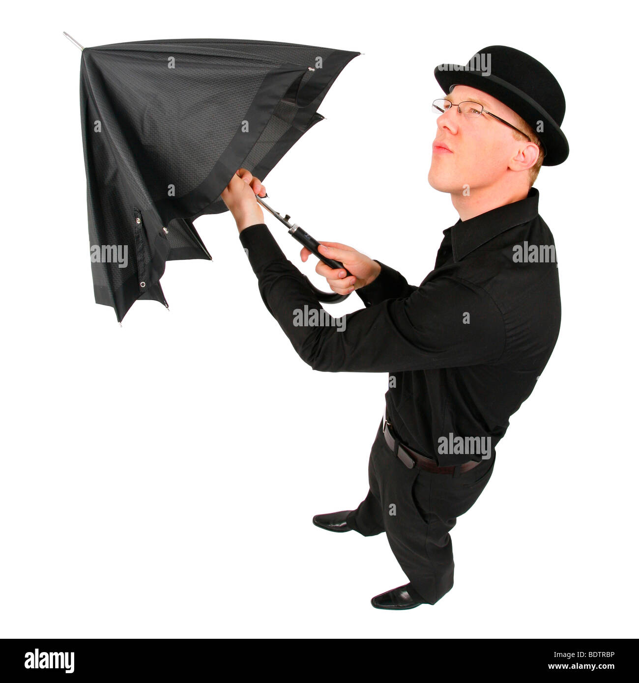 12d1f0e99dc young man with bowler hat and umbrella Stock Photo  25746106 - Alamy