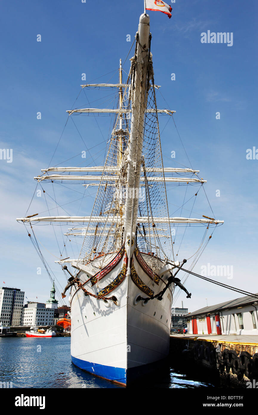 Three-masted barque Statsrad Lehmkuhl, built in 1914, Bergen, Norway, Europe - Stock Image