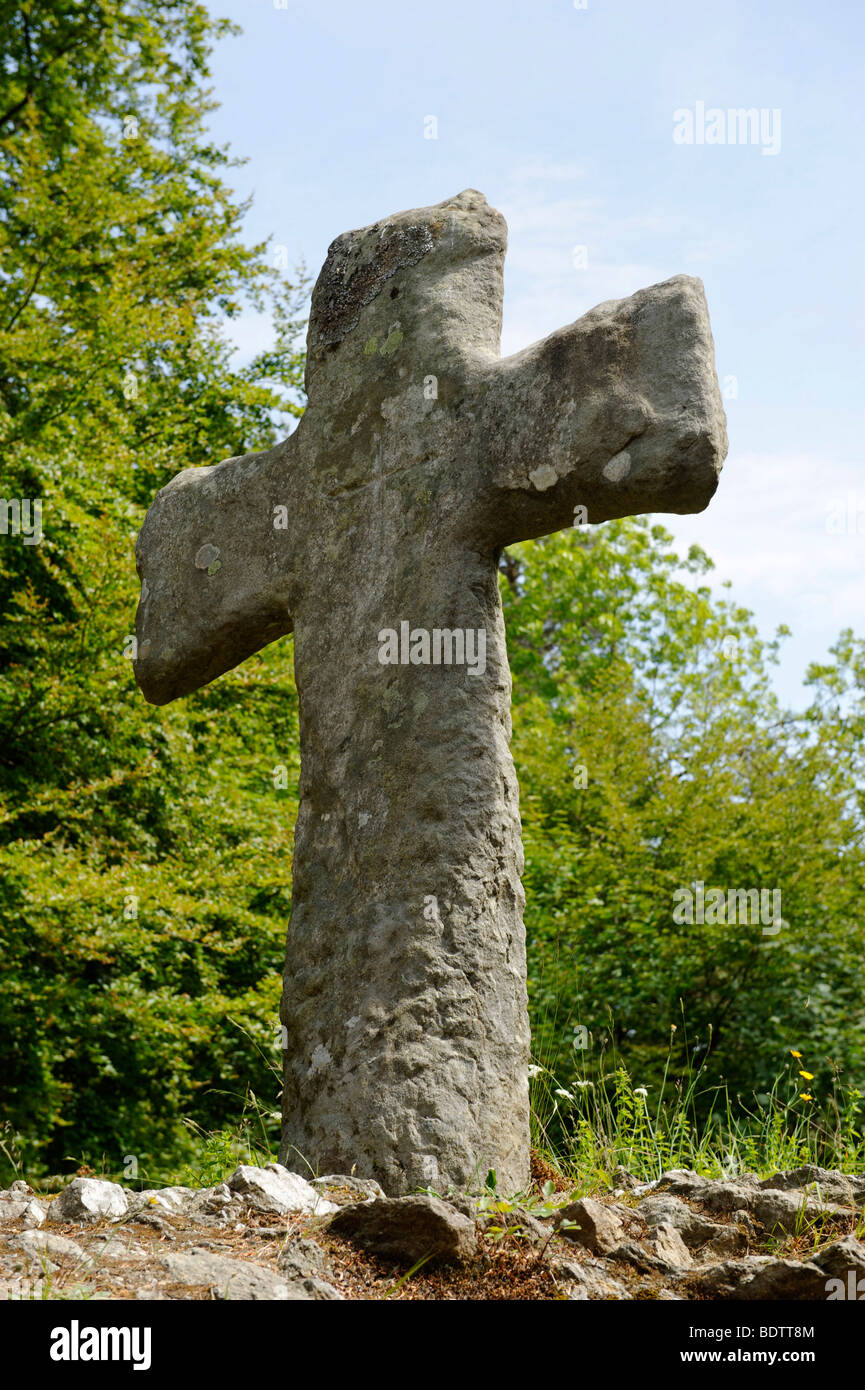 Stone cross, medieval, at the Fantoft stave church, Bergen, Norway, Europe - Stock Image