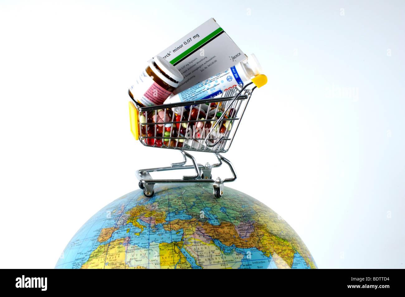 Cart globe - Stock Image