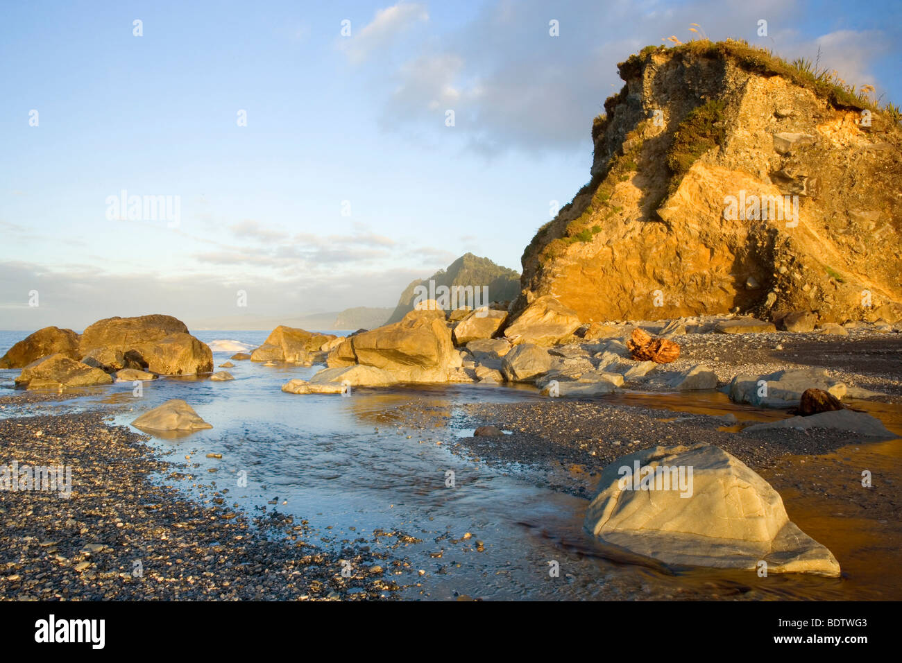 Shoreline, cliffs and rocks at Gillespies Beach in last evening light, Westland National Park, South Island, New - Stock Image