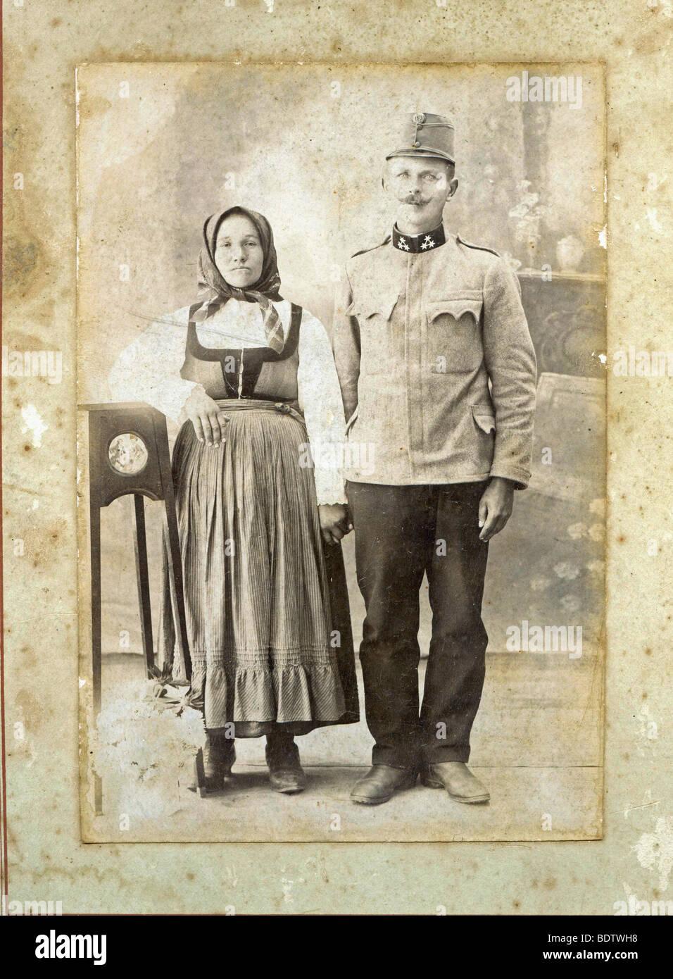 Couple, Transylvania, Romania, historical photo, 1920 Stock Photo