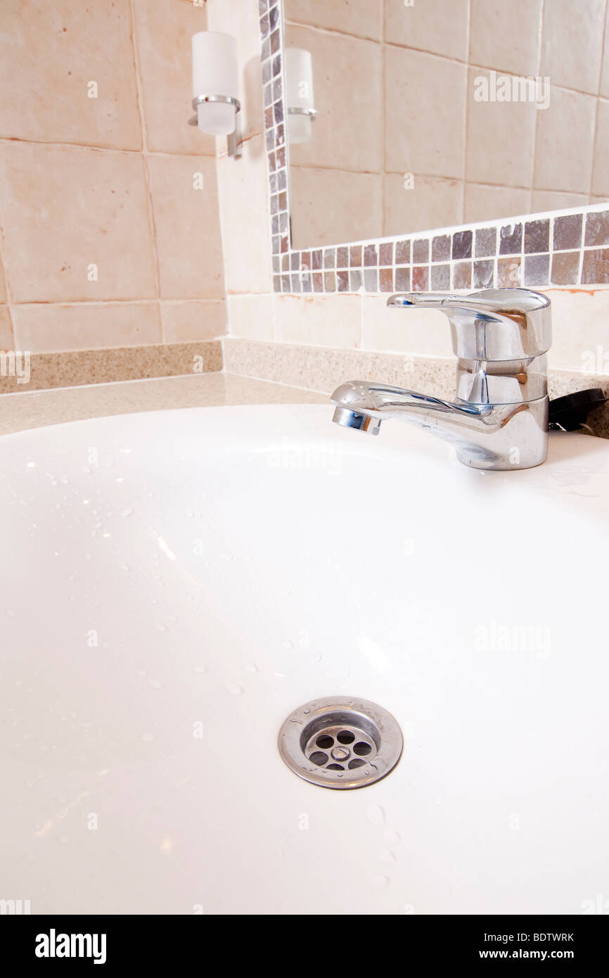 Image Of The Inside Of A Bathroom With Wc And Toilette Stock Photo