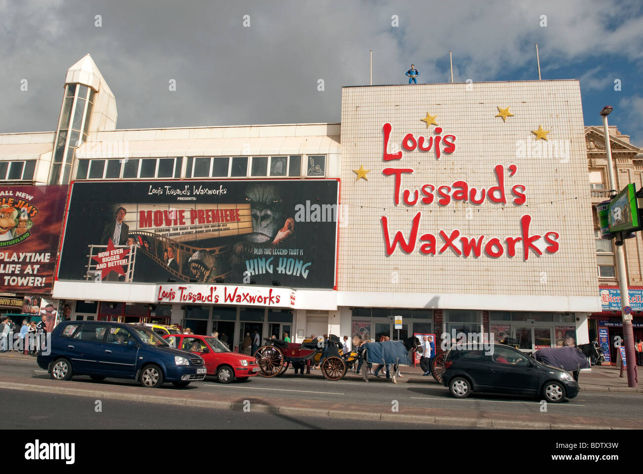 Louis Tussaud's waxworks on the Blackpool Golden Mile seafront. - Stock Image