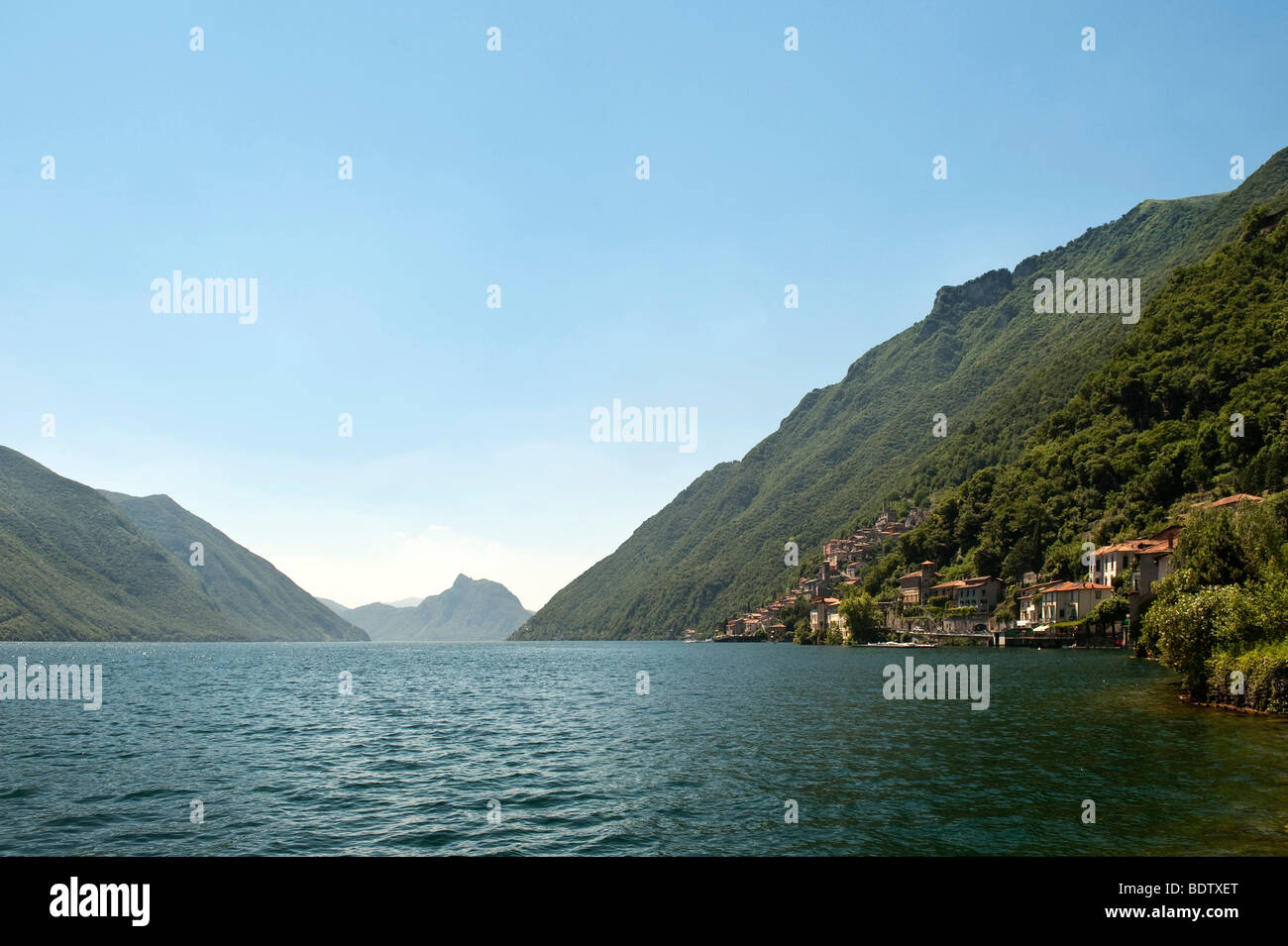 Lake Lugano, Lago di Lugano, Ticino, Switzerland, Europe Stock Photo