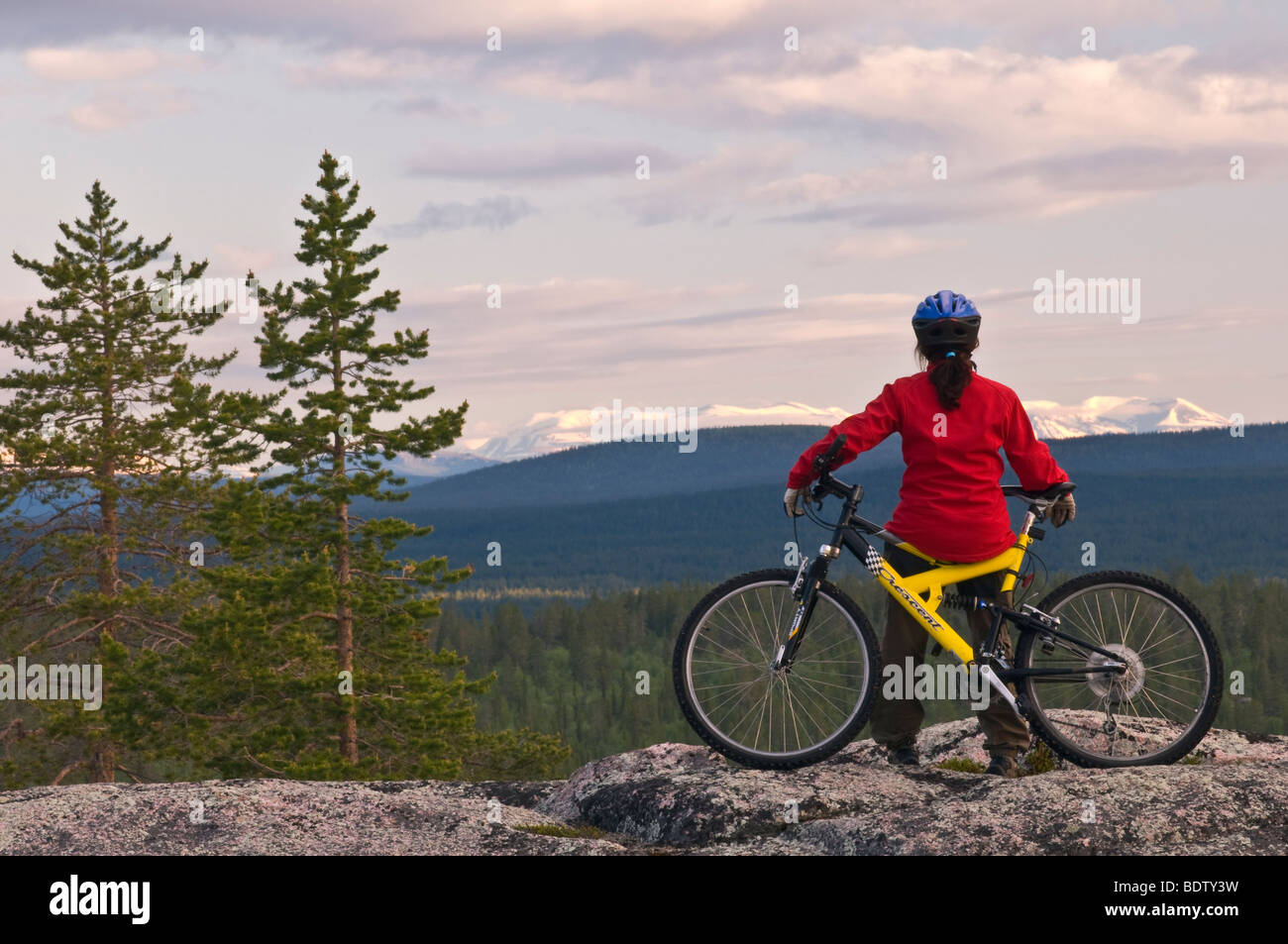 mountainbikerin blick in faell in lappland, schweden, downhill cyclist looks into the mountain lake in lapland, Stock Photo