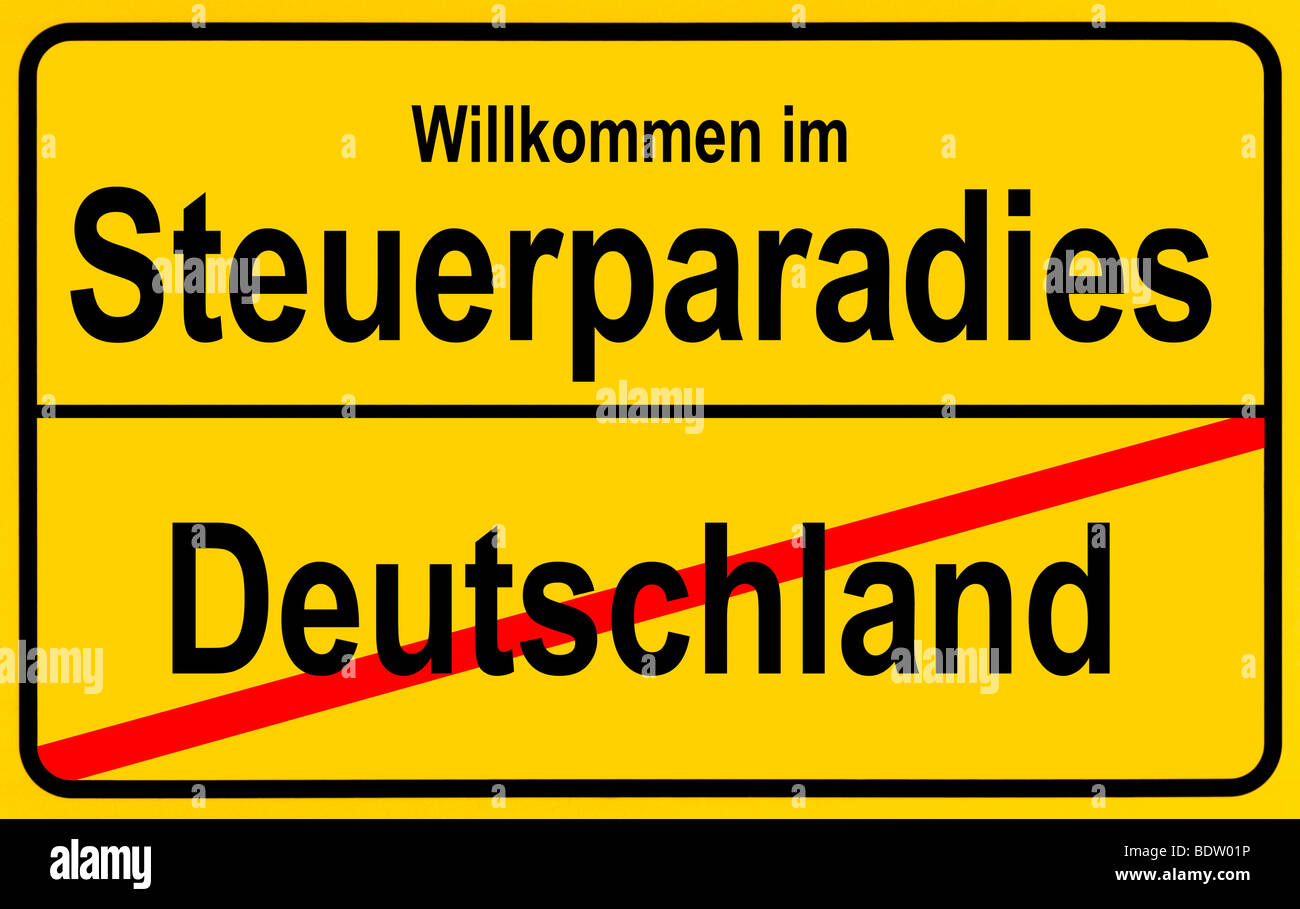 Sign city limits, symbolic image for tax havens outside Germany Stock Photo