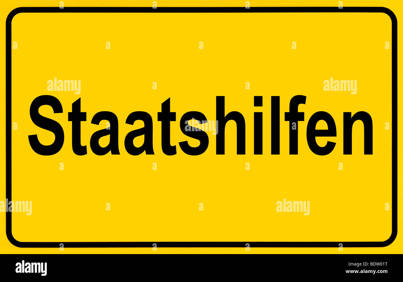 Sign city limits, symbolic image for the start of government aid - Stock Image