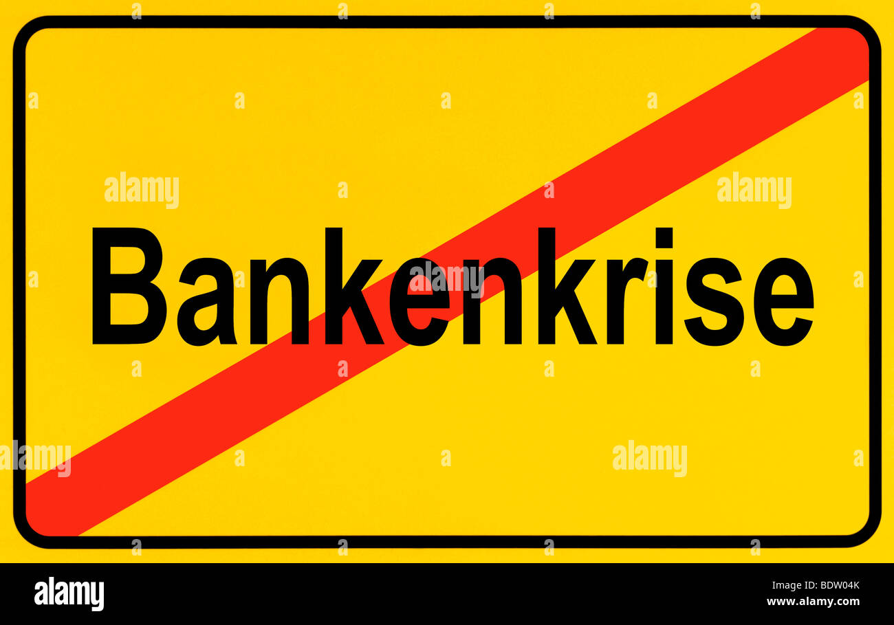 Sign city limits, symbolic image for the end of the banking crisis - Stock Image