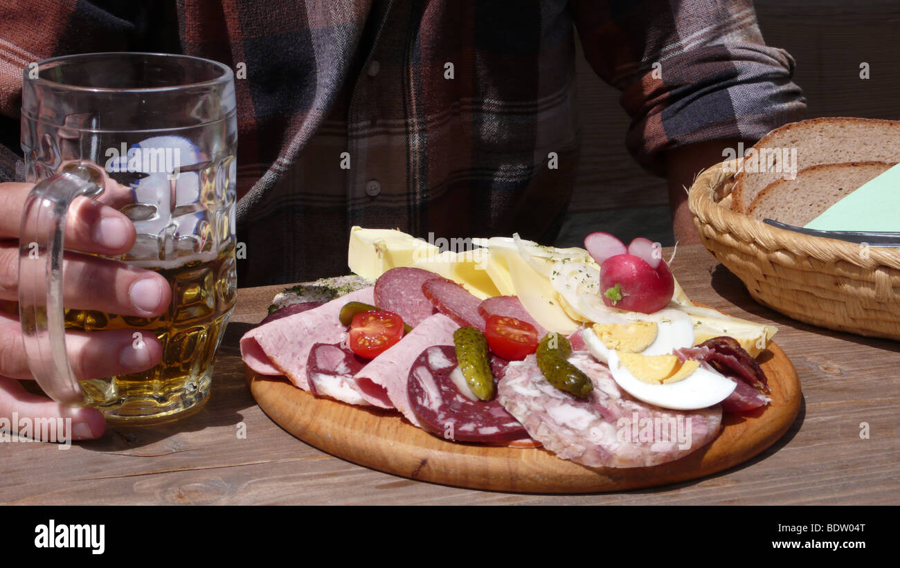 Customary snack in Bavaria,Germany - Stock Image