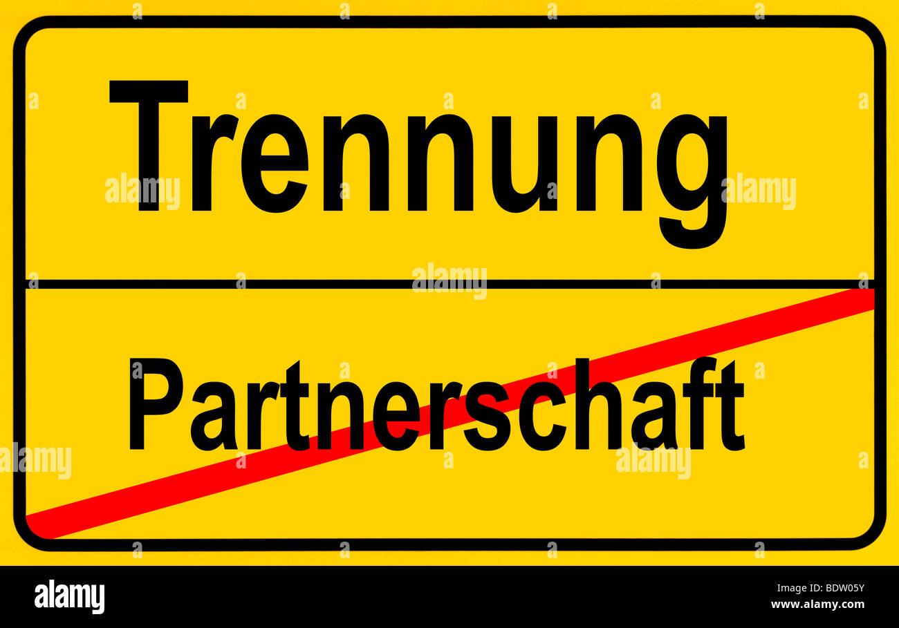 Sign city limits, symbolic image for separation and end of a partnership - Stock Image
