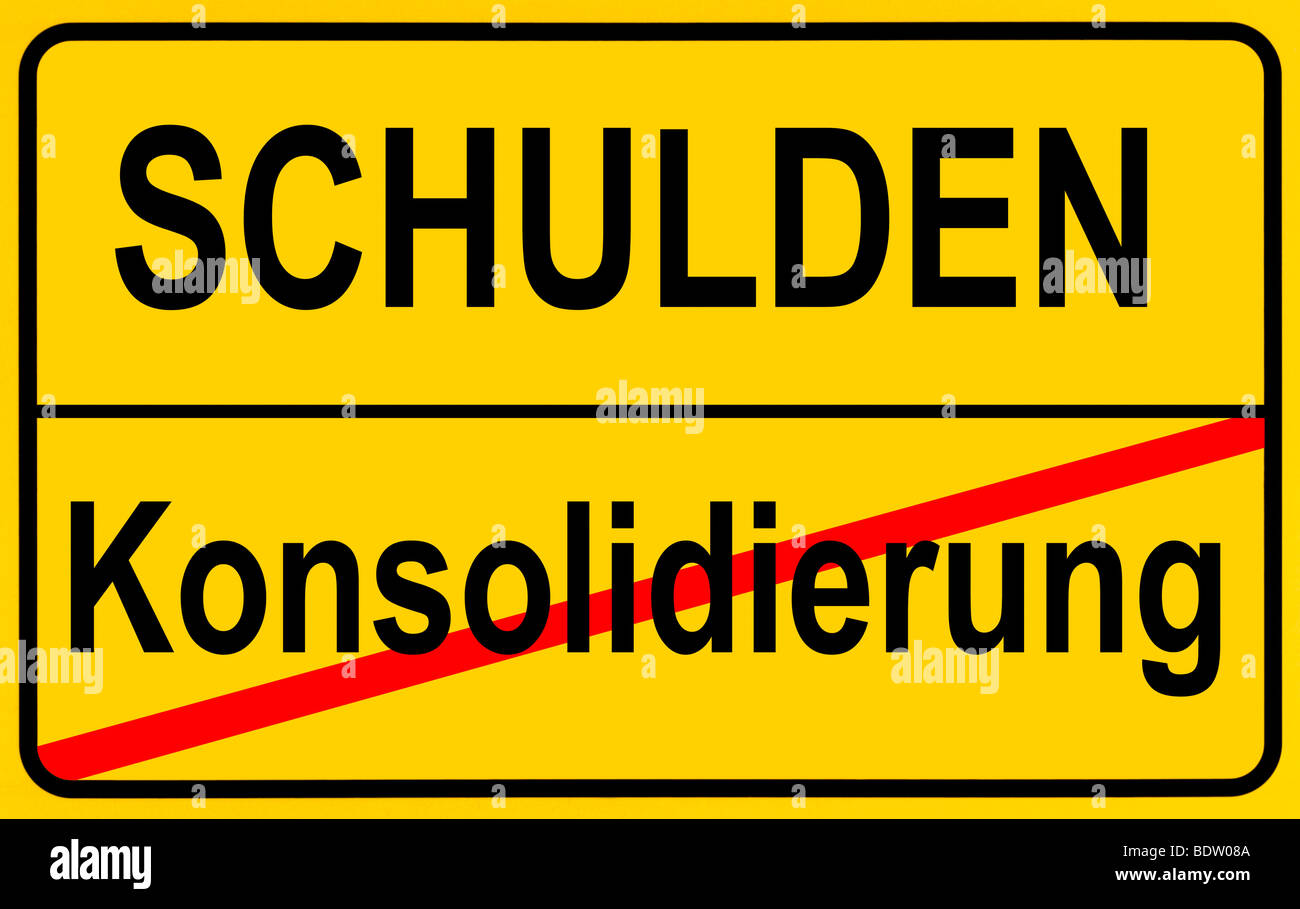 Sign city limits, symbolic image for the conflict between debts and consolidation - Stock Image