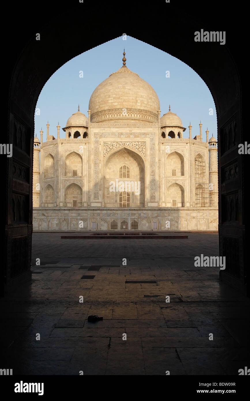 taj mahal, weltberuehmtes mausoleum in agra, indien, india - Stock Image