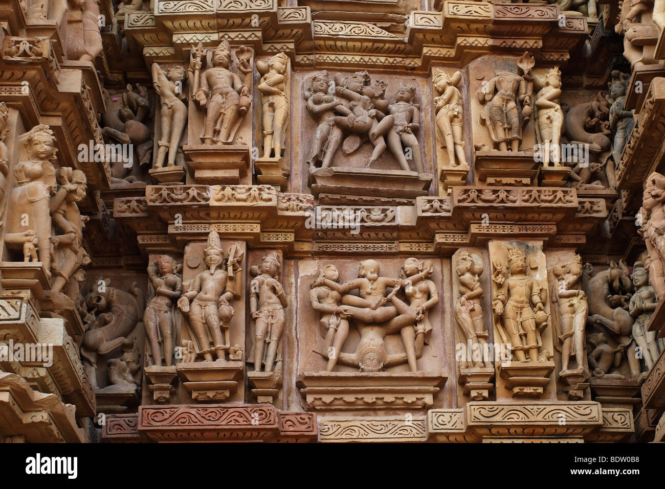 tempel von khajuraho, indien, temple in india, - Stock Image