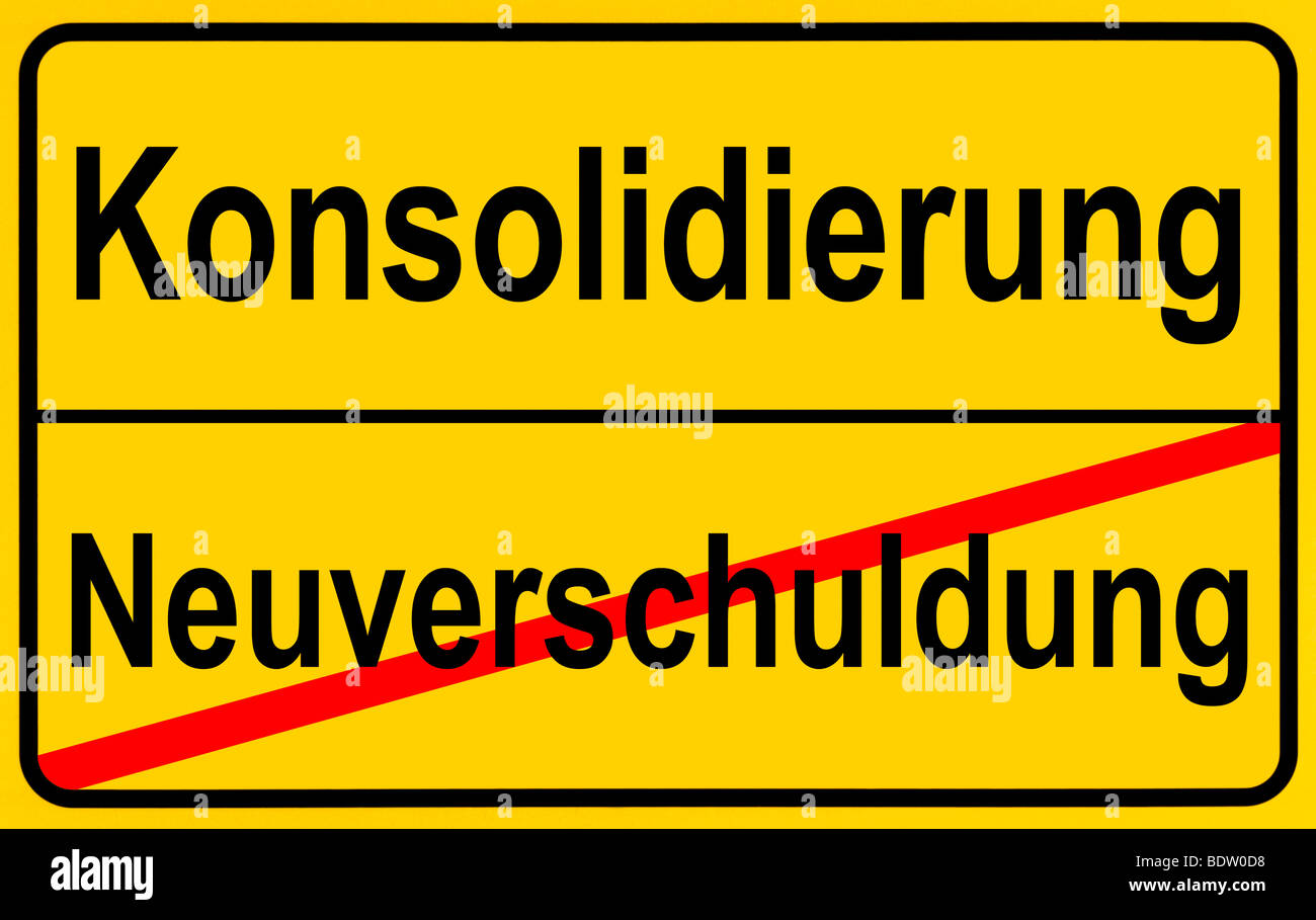 Sign city limits, symbolic image for the conflict between new debts and consolidation - Stock Image