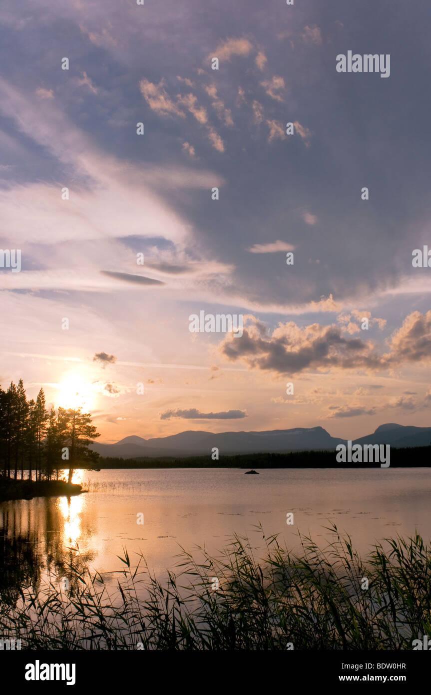 abendstimmung an einem see, jaemtland, schweden, evening mood at a lake, sweden - Stock Image