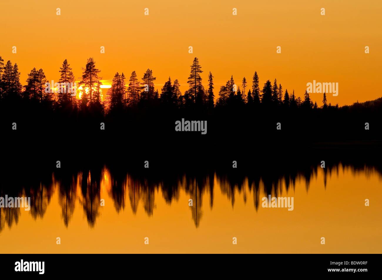 sonnenuntergang ueber einem waldsee, lappland, schweden, sunset at a forest lake, lapland, sweden - Stock Image