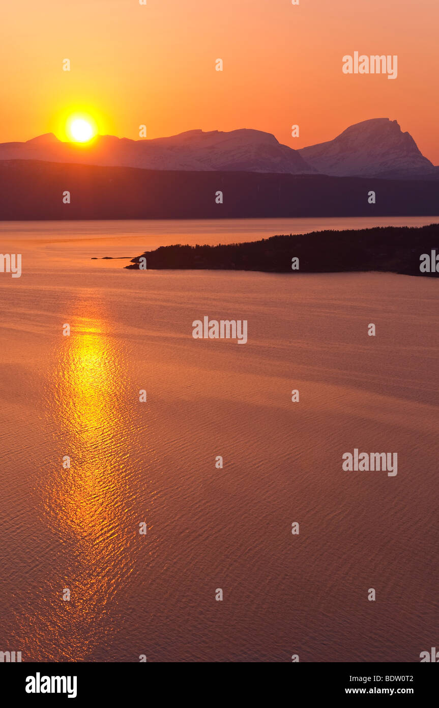 sunset at the fiord, norway - Stock Image