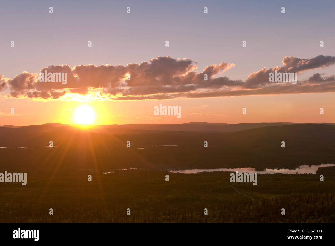 sunset at the fiord, norway Stock Photo