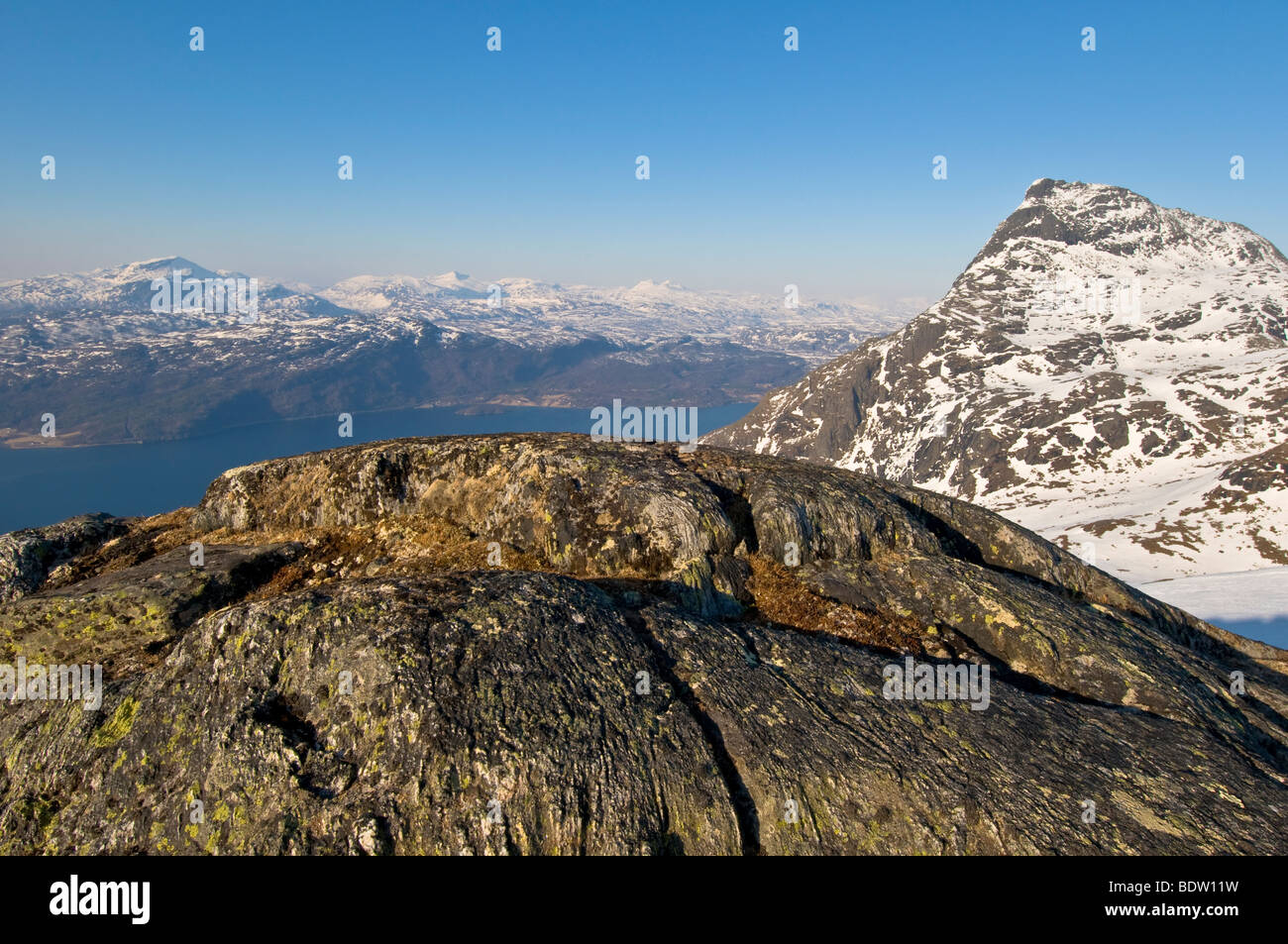 view at summit of rombakstetta, ofotfjorden, narvik, norway - Stock Image