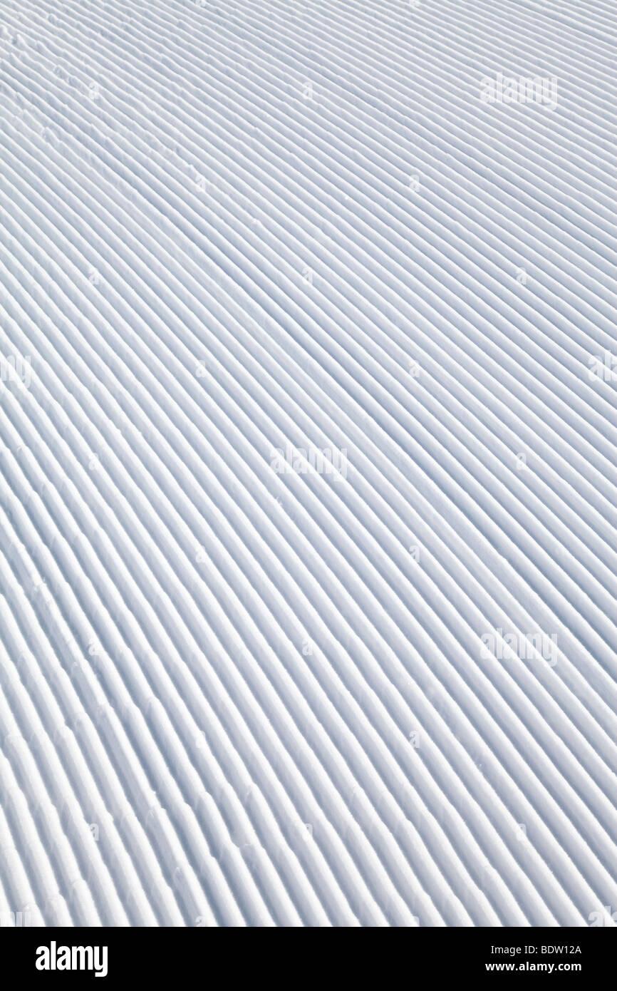 Europe, Austria, Tirol. St. Anton am Arlberg, newly groomed piste - detail Stock Photo