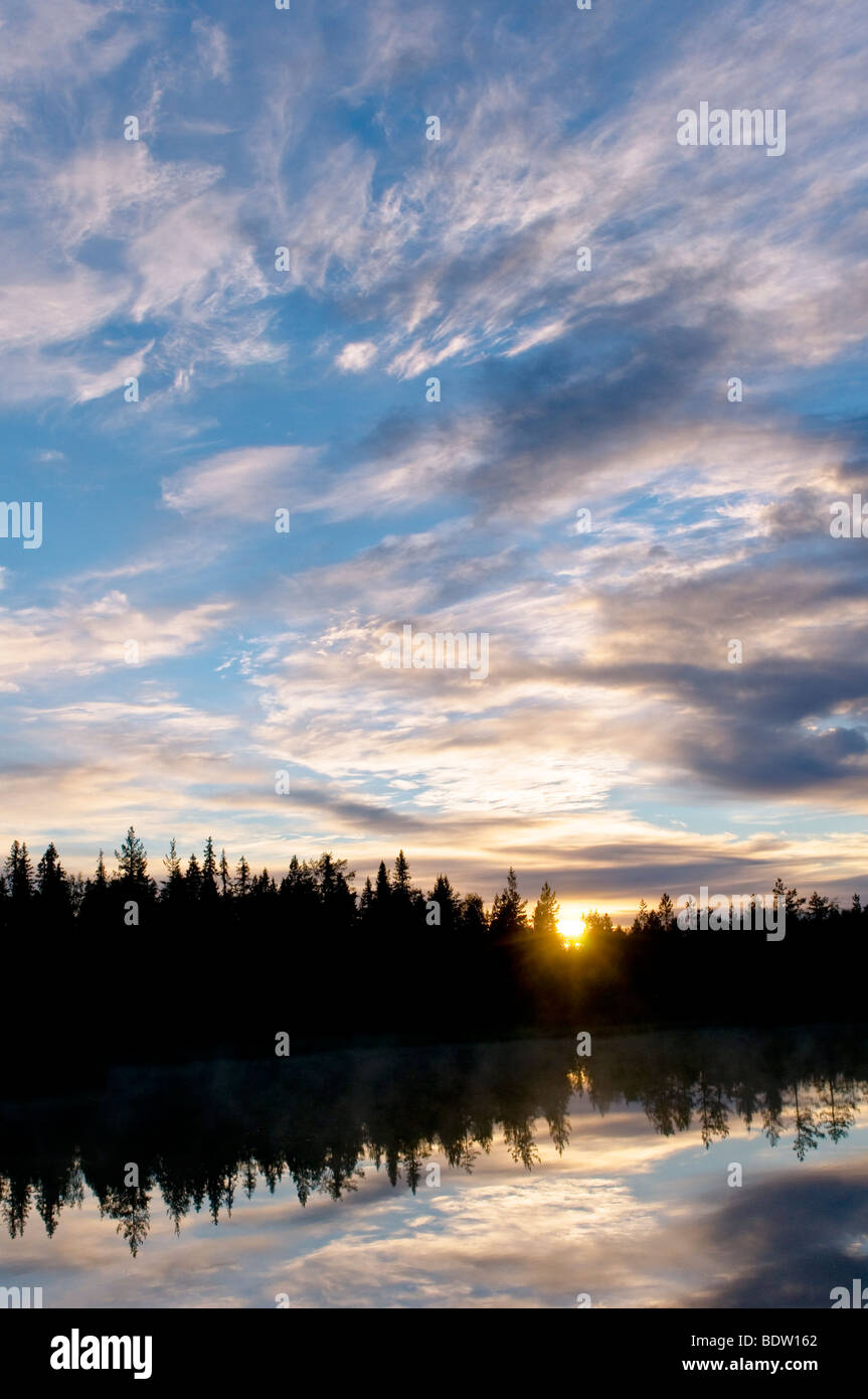 sonnenuntergang ueber see in lappland, schweden, lake at sunset in lapland, sweden Stock Photo