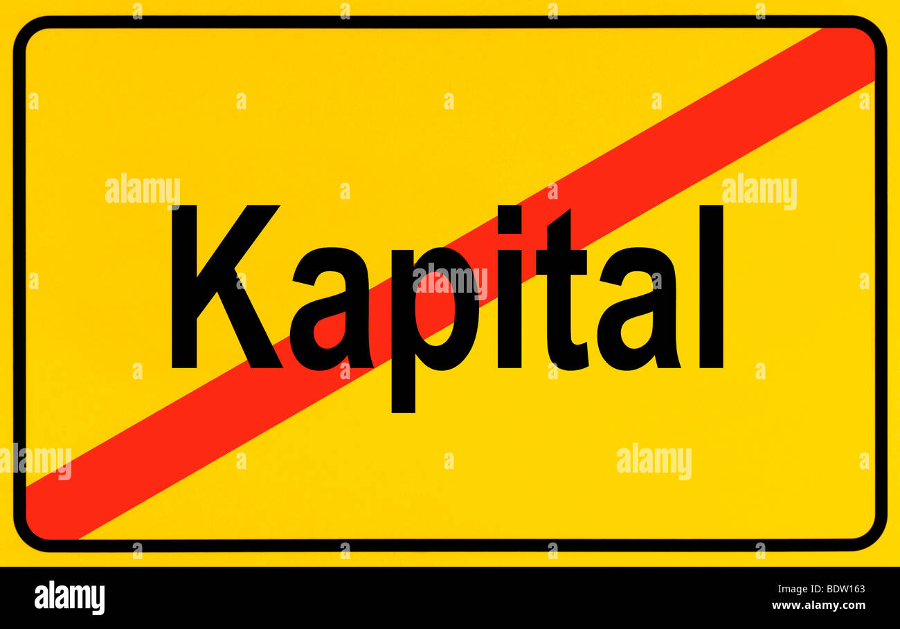 Sign city limits, symbolic image for the end of the dominance of capital - Stock Image