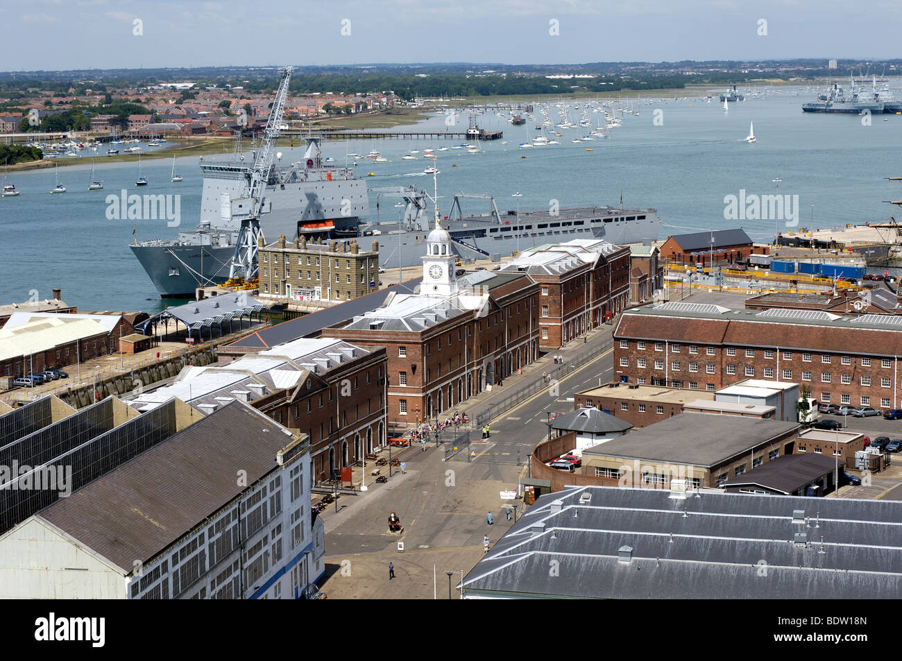 Aerial view of Portsmouth Dockyard including harbour, Portsmouth, Hampshire, England, UK Stock Photo