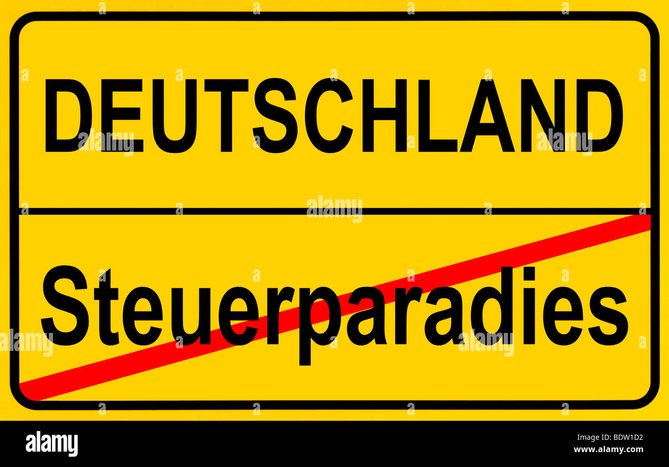 Sign city limits, symbolic image for tax havens outside Germany - Stock Image