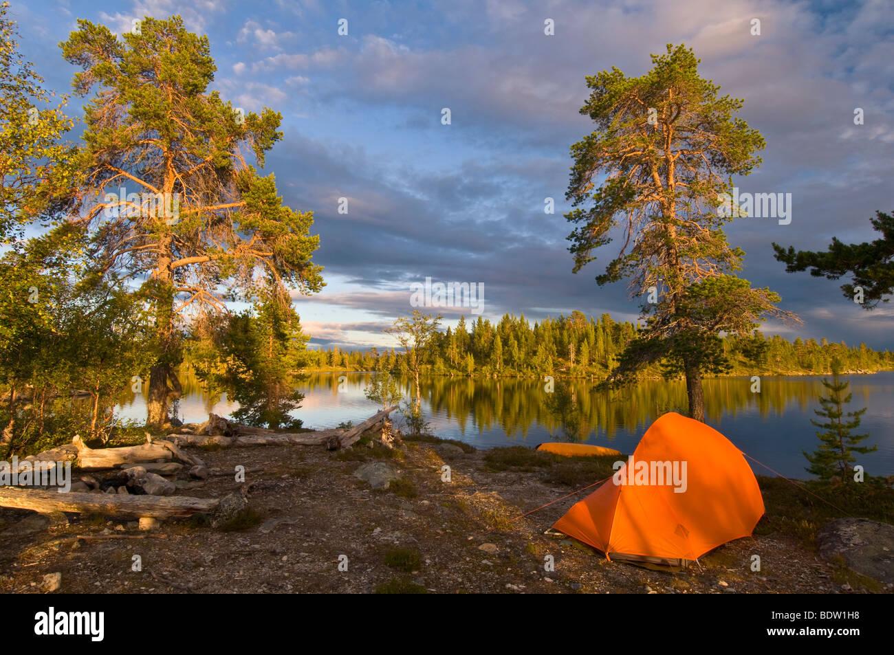 outdoor camping, haerjedalen, schweden, lake, nature reserve rogen, sweden - Stock Image