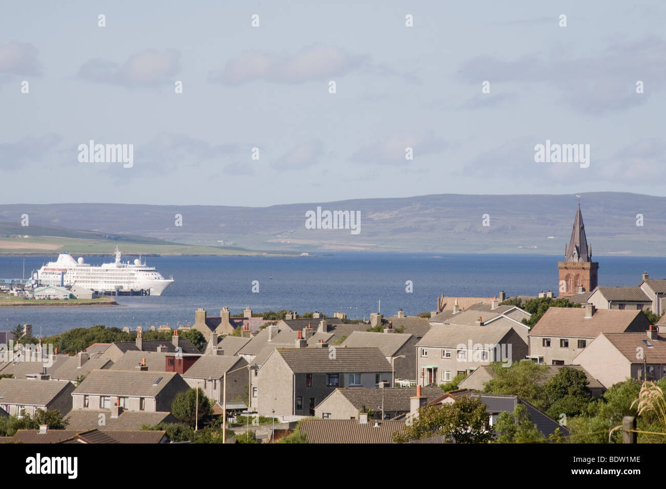view of kirkwall, hauptstadt der orkney-inseln, capital of orkney islands, scotland, schottland - Stock Image