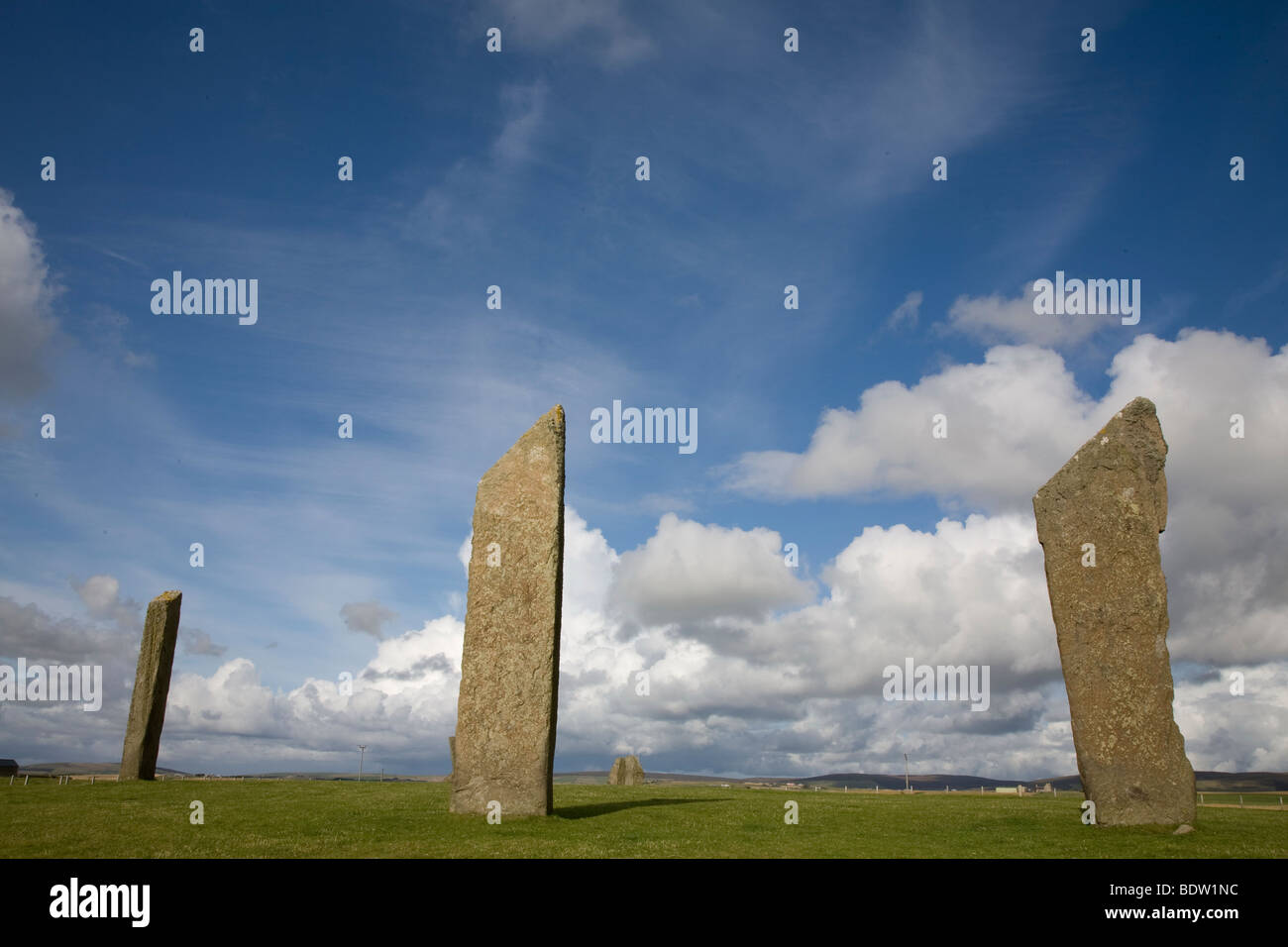 standing stones of stenness, neolithic heart of orkney, mainland, orkney islands, scotland - Stock Image